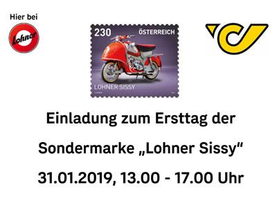 Lohner Sissy Ersttag Briefmarke: 31.1.2019 13 – 17 Uhr